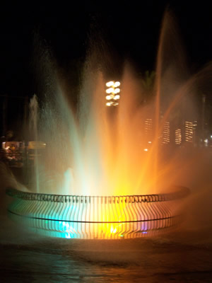 Multi-colored Lighted Fountain at Night