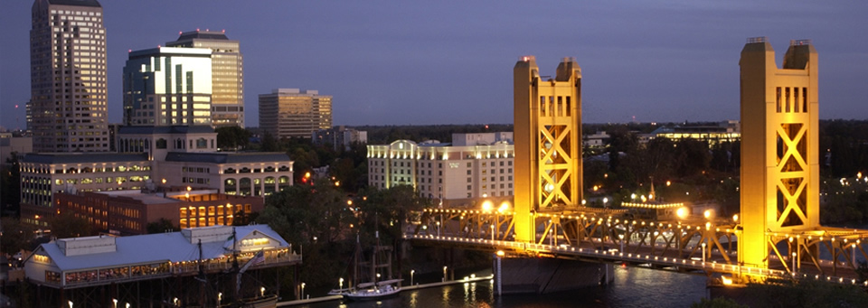 image of the Tower Bridge from West Sacramento at night