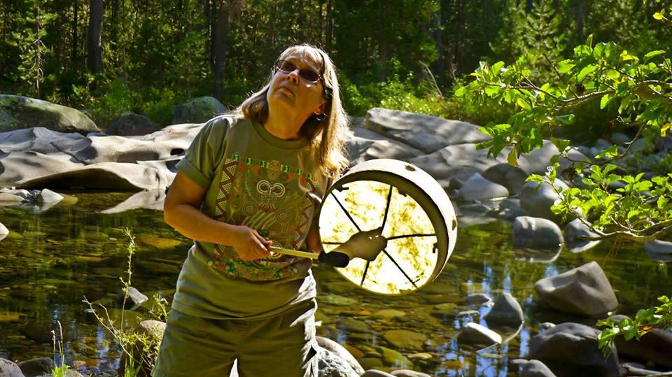 Judy Lynn Taylor with a shaman's drum