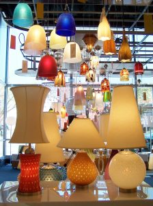 A shot of some colorful electric lamps from inside the Lumens lamp shop